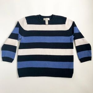90s Knit Striped Sweater 3/4 Length Sleeves